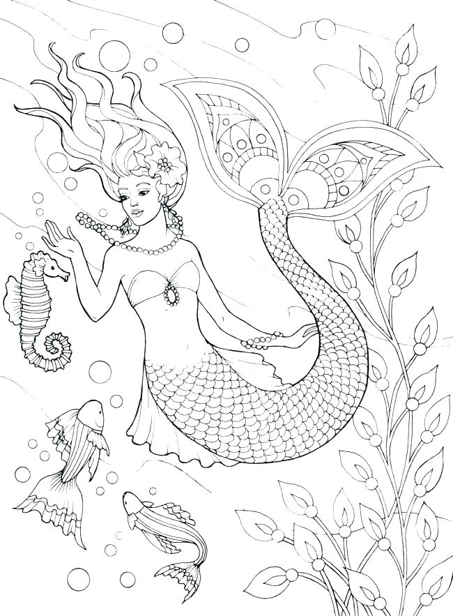 650x883 Mermaid Coloring Pages Online Realistic Mermaid Coloring Pages