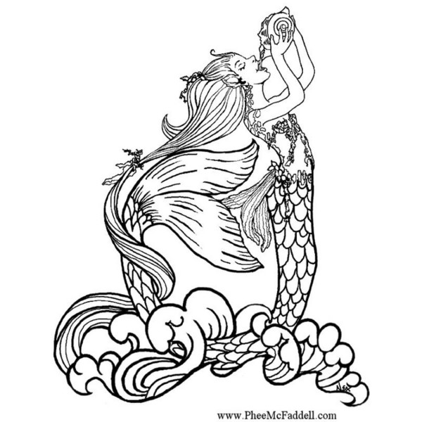 600x600 Realistic Mermaid Coloring Pages