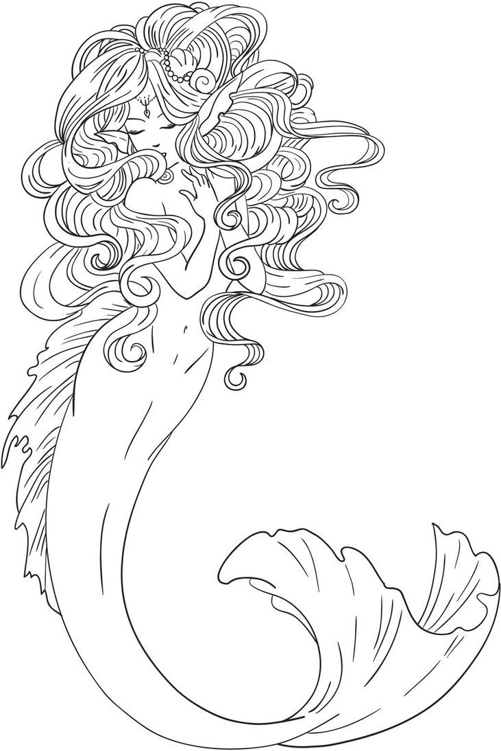 731x1094 Realistic Mermaid Coloring Pages Download Coloring For Kids 2018