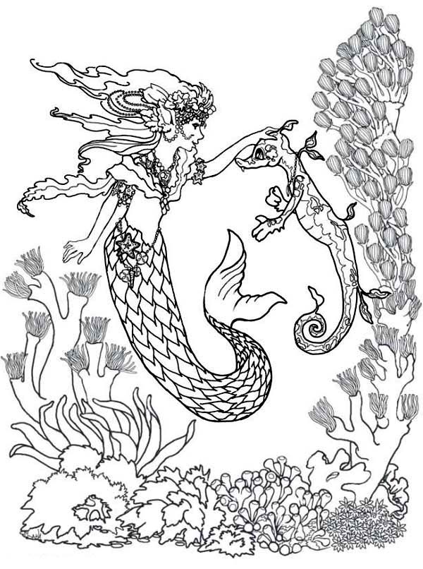 600x806 Realistic Mermaid Coloring Pages