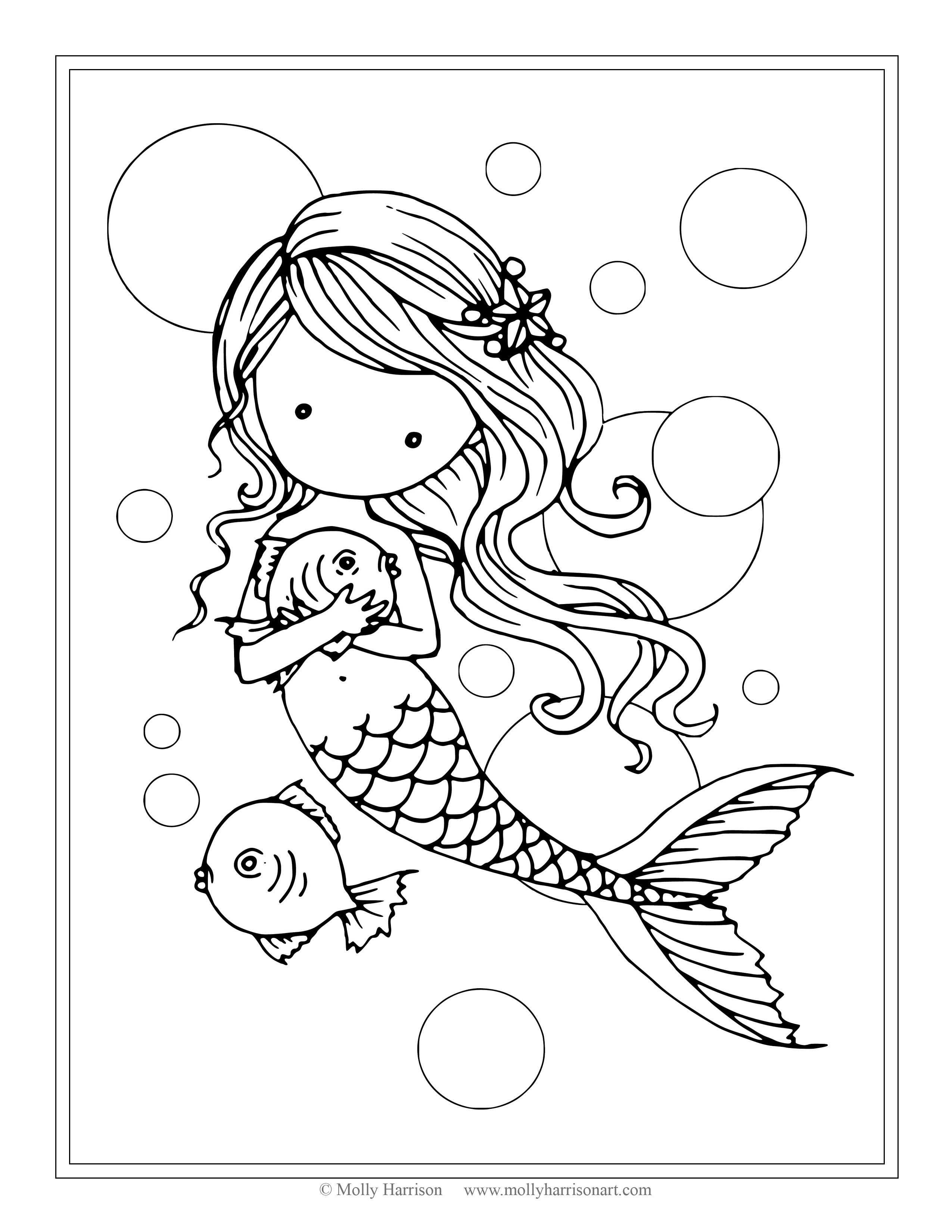 2550x3300 Cute Mermaid Coloring Pages Book Incridible The Little In 16