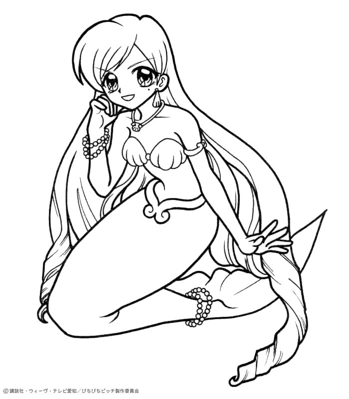 700x800 Mermaid Melody Coloring Pages Printable Mermaid Melody Coloring