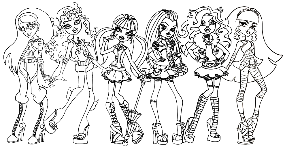989x518 Monster High Coloring Pages Free