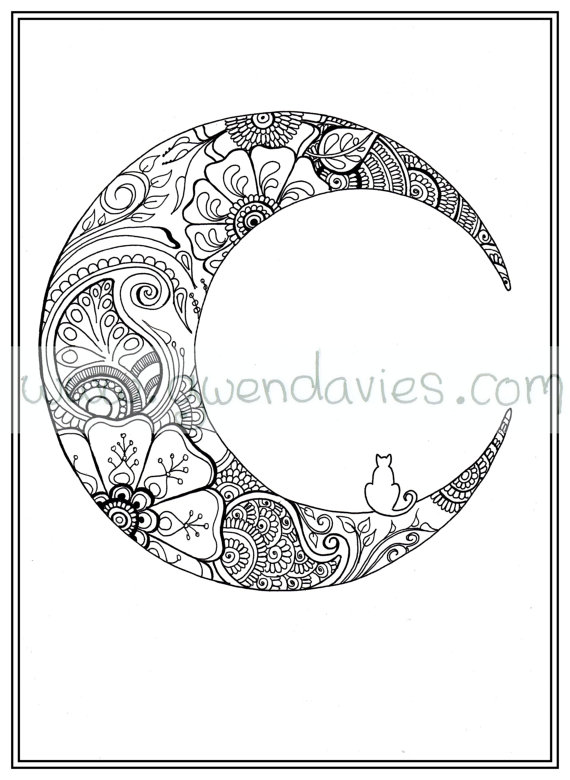 Moon Mandala Coloring Pages