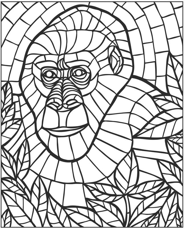 Mosaic Animal Coloring Pages