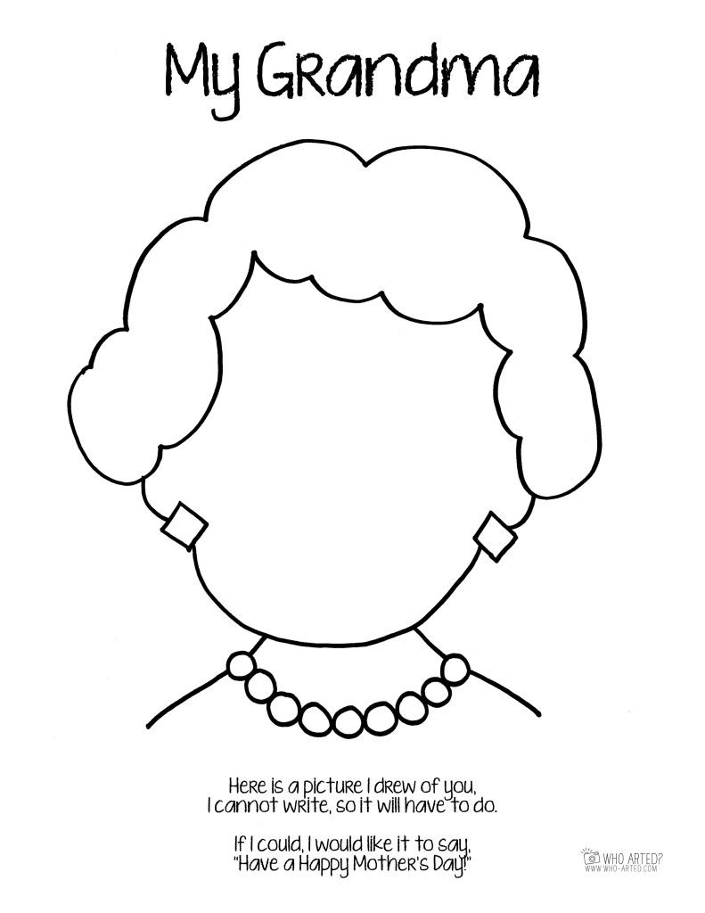 791x1024 Mother's Day Coloring Page Grandma Short Hair Who Arted Gifts