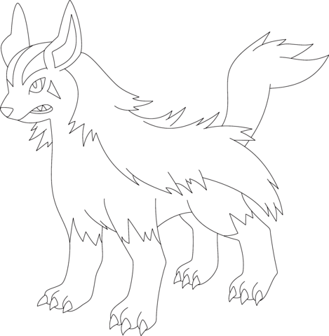 469x480 Pokemon Mightyena Coloring Pages