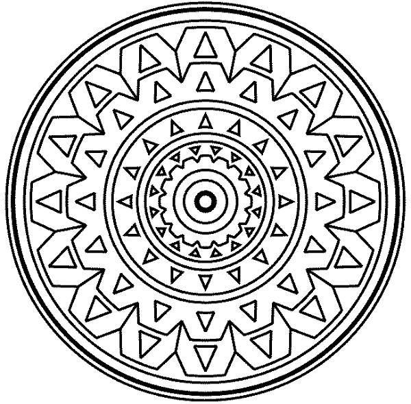 600x589 Coloring Pages Full Size Medallion Mandala Mosaic Coloring Page