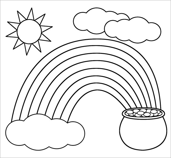 Rainbow With Pot Of Gold Coloring Page