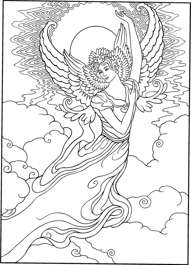 Realistic Angel Coloring Pages
