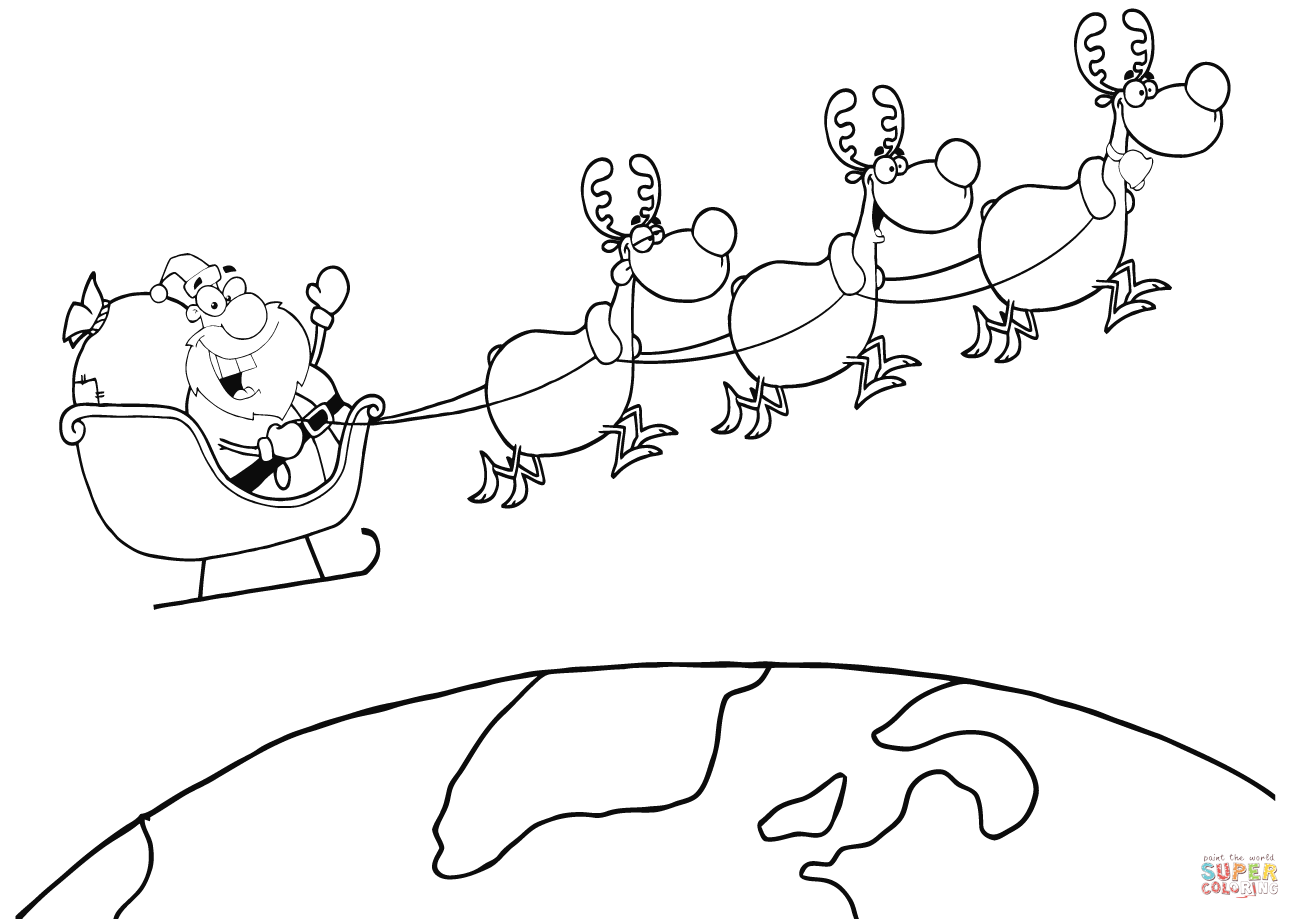 1300x919 team of reindeer and santa in his sleigh flying above the globe