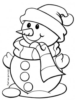 254x338 Printable Christmas Snowman Coloring Pages For Preschool