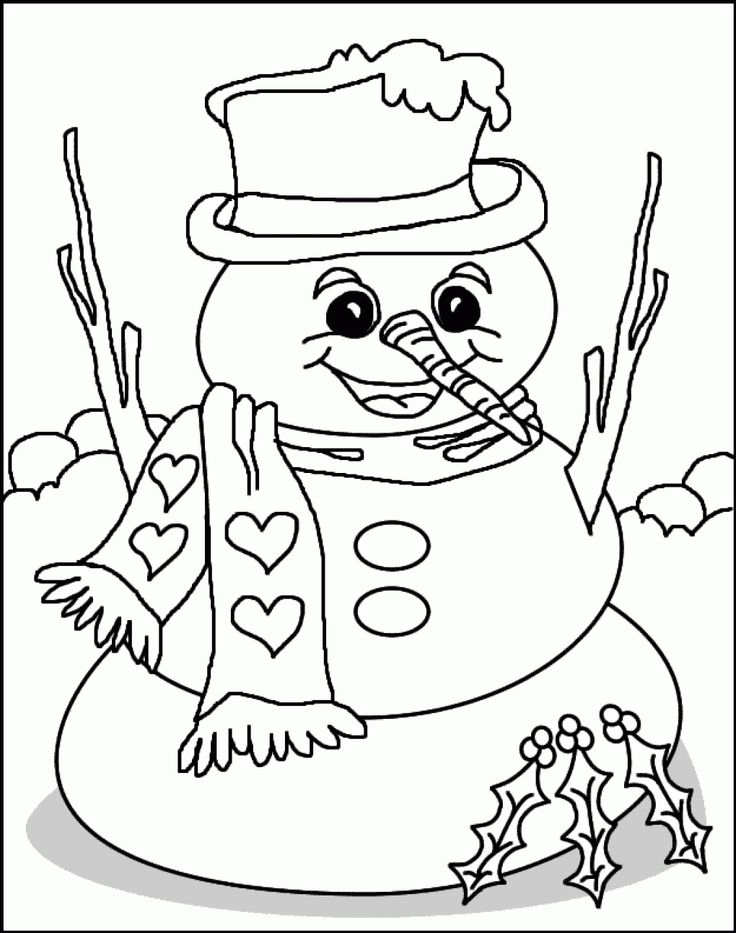 736x933 Printable Happy Snowman Christmas Coloring Pages