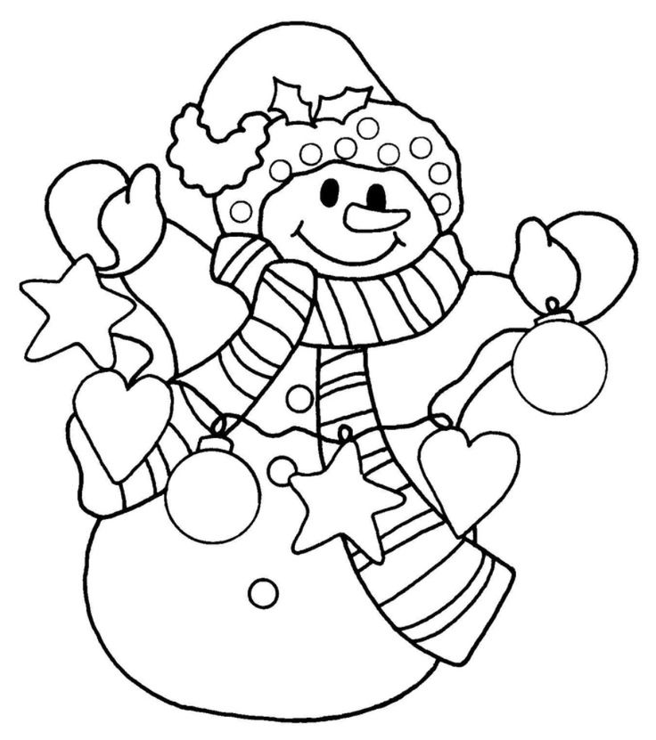 736x831 Cool Design Snowman Coloring Pages Printable For Preschool Adults