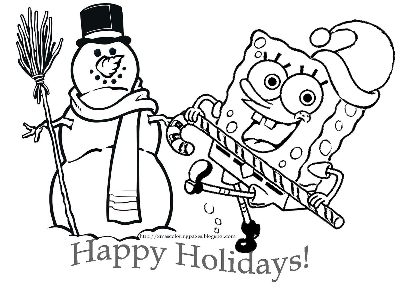 1600x1137 Spongebob Christmas Coloring Pages