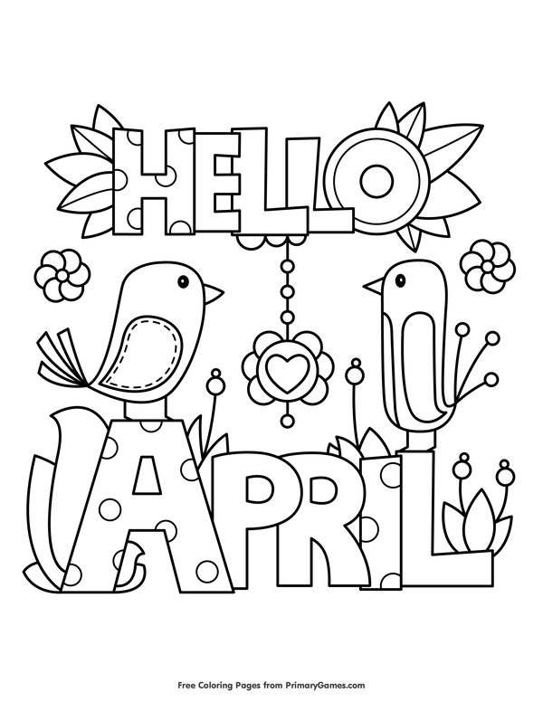 600x776 Spring Coloring Pages Ebook Hello April Verbos En