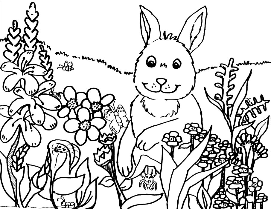 906x700 Spring Coloring Pages 1