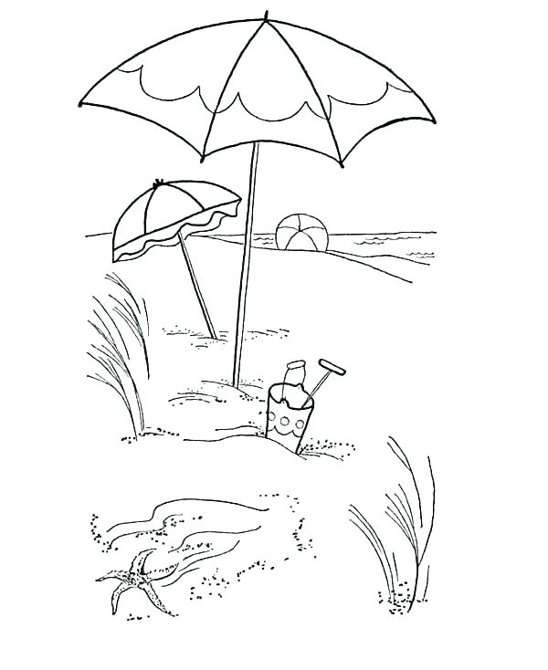 600x734 At Beach Coloring Pages Beach Coloring Pages To Print