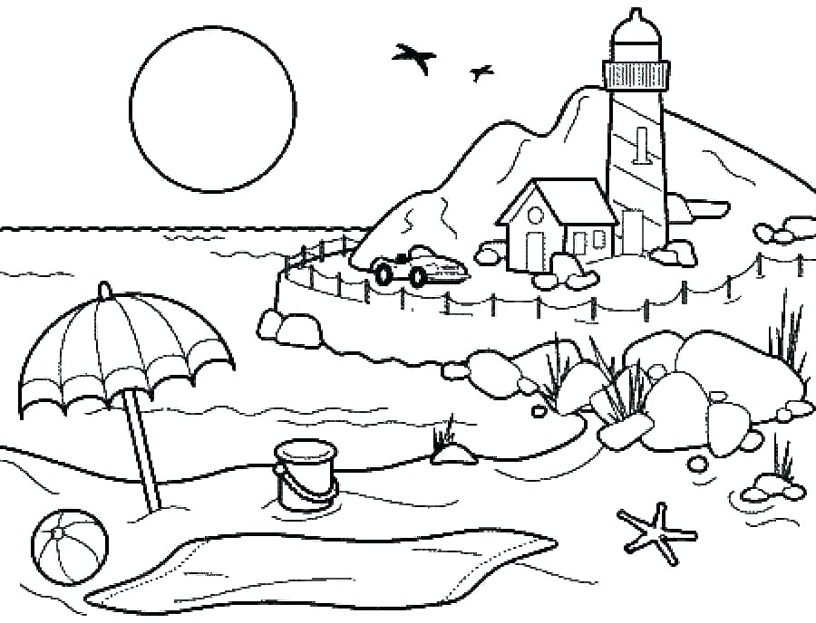 900x688 Download Beach Coloring Pages Beach Coloring Pages To Print Beach