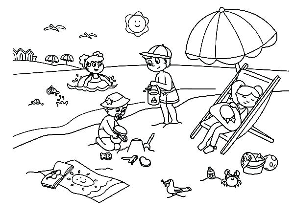 600x442 Beach Coloring Pages Entertaining Beach G Pages New Kids Enjoying