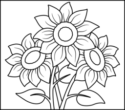 256x226 Sunflower Coloring Page. Printables. Apps For Kids.