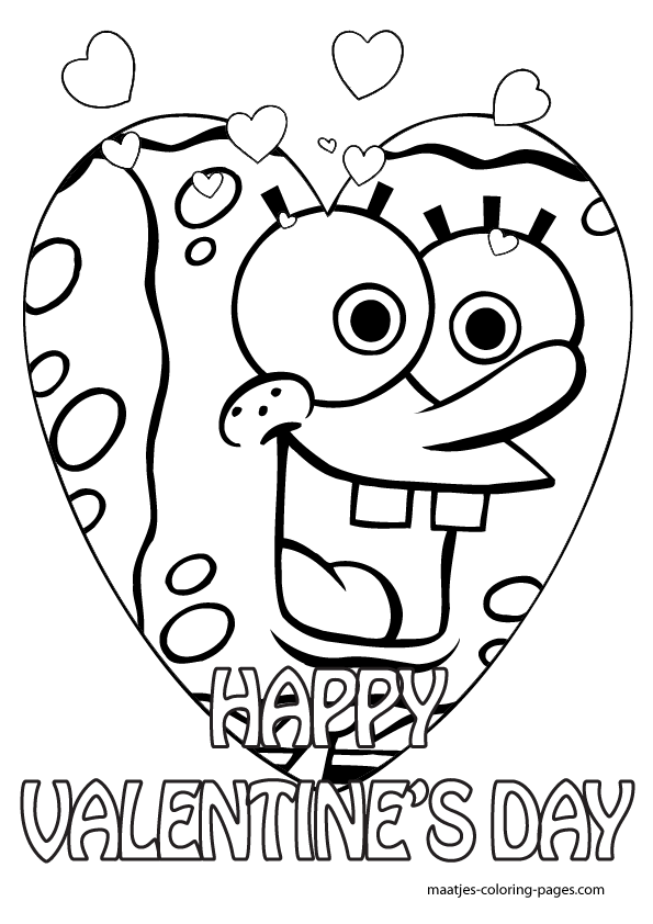 595x842 Valentine's Day Coloring Pages Spongebob Valentines Day Coloring