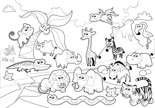 500x349 Detailed Coloring Page Zoo Animals