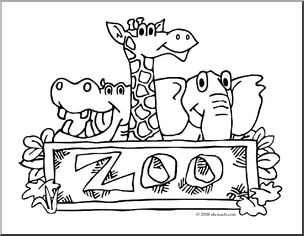 304x236 Clip Art Zoo Graphic Coloring Page Preview 1 Heather Zoo Animals